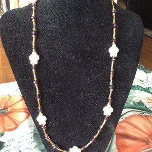 Jewelry - Stone Turtle Necklace w Glass gold & purple beads